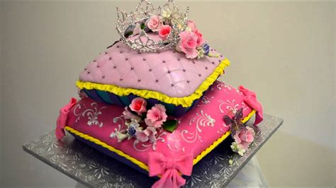How To Make A Birthday Cake Out Of Paper - baby princess theme pillow cake fondant icing cake ideas