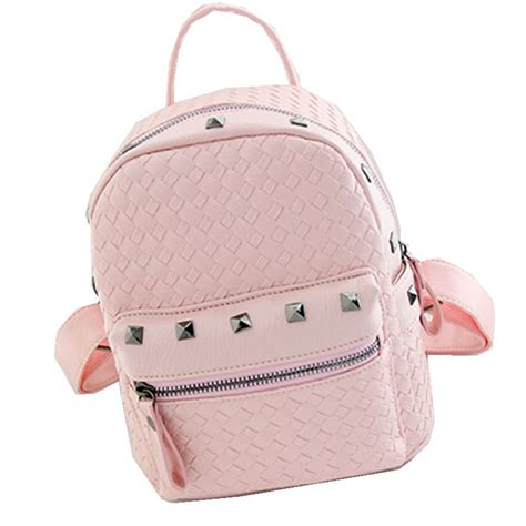 Fashion Mini Bag 980 new 2016 fashion mini bags pu leather college bag rivet backpacks knitting leather backpack