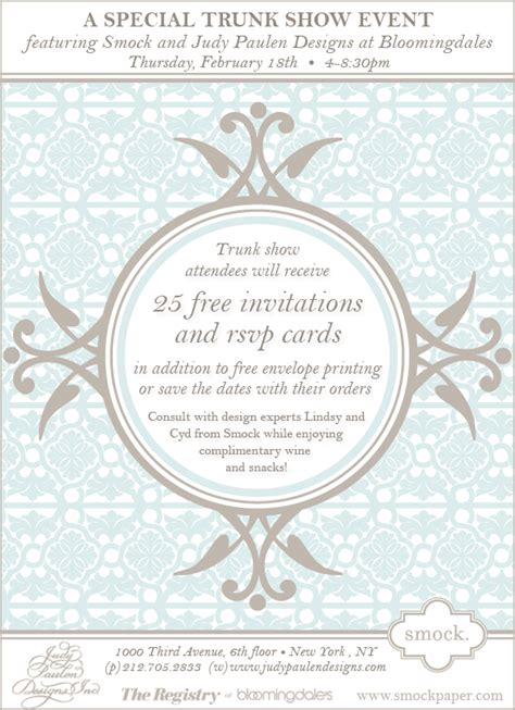 bloomingdales nyc wedding invitations smock trunk show at judy paulen designs at bloomingdale s