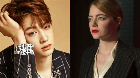 emma stone kpop emma stone poses with picture of got7 s jb sbs popasia