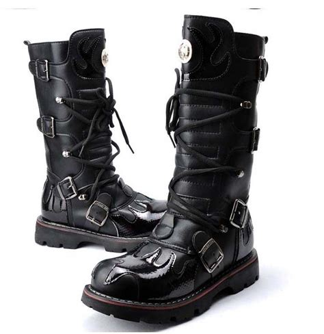cool motorbike boots 2015 top punk rock men s super cool high topped motorcycle