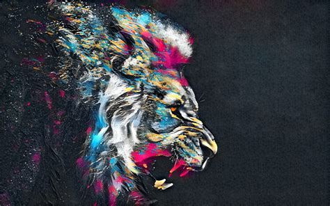 abstract artistic colorful lion p resolution