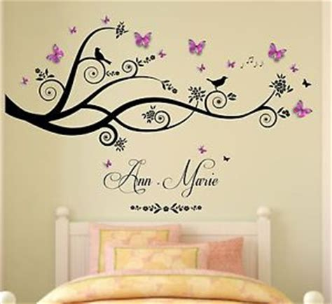 wall art for girls bedroom personalised name tree birds 3d butterflies wall art