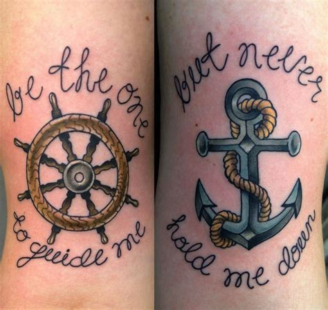 nautical couple tattoos with ship wheel shipwheel and anchor wall