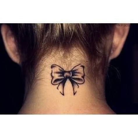 ribbon tattoo on neck tatuaje nuca lazo