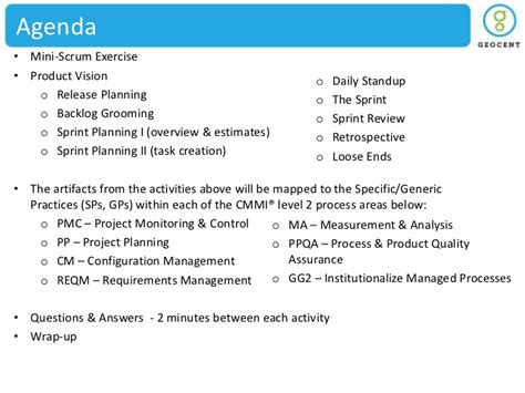 Geocent Scrum Cmmi Without Animations 2 Daily Scrum Meeting Agenda Template