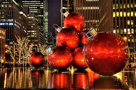 giant christmas ornaments decoration in nyc a merry ornament display in rockefeller plaza