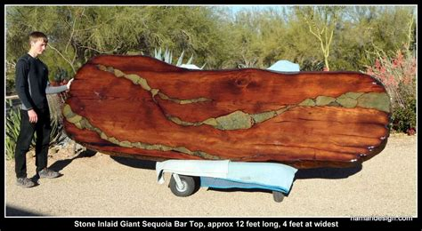 Cheap Kitchen Countertop Ideas by Handmade Live Edge Wood Slab Giant Sequoia Redwood Bar