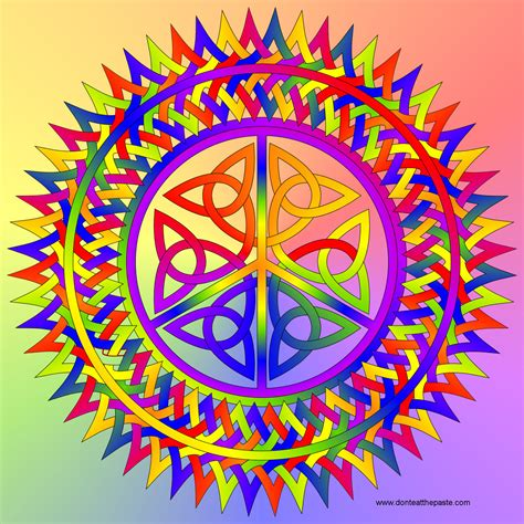 peace colors don t eat the paste peace symbol with knotwork to color