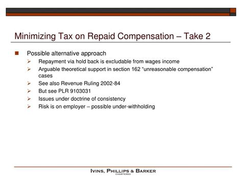 Irs Code Section 165 by Ppt Clawbacks Tax Treatment And Tax Issues Powerpoint