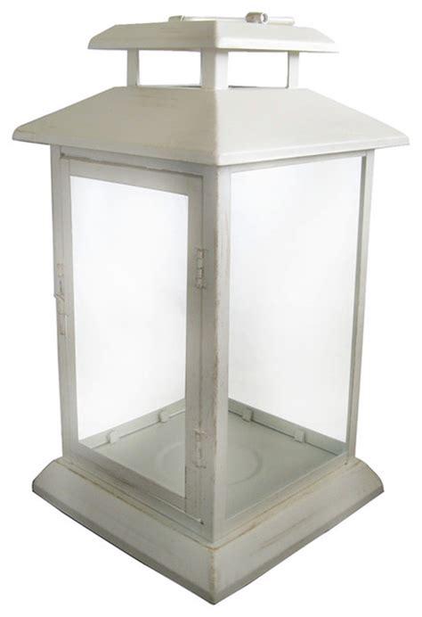 White Lantern Decor by Garden Treasures White Metal Outdoor Decorative Lantern