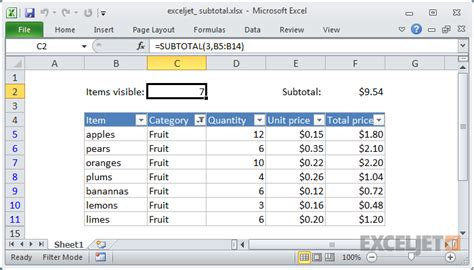 tutorial excel subtotal create formula in excel how to use the excel subtotal