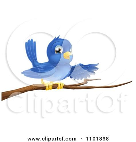 clipart happy blue bird pointing on a bare tree branch