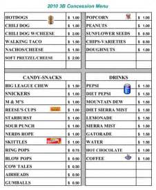 Concession Stand Menu Template by Food Stand Menu Template For Excel Pdf And Word