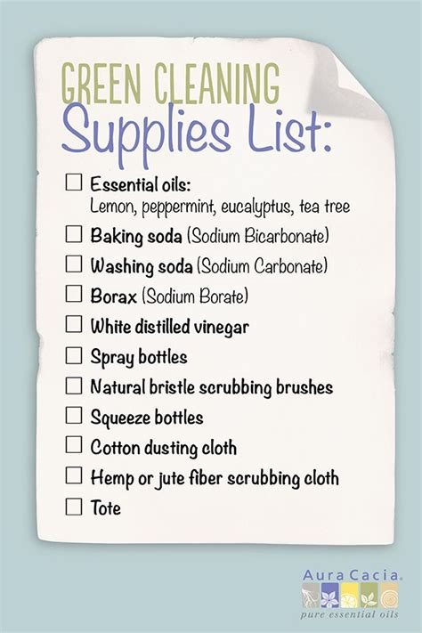 cleaning supplies checklist green cleaning aura cacia aromatherapy and essential