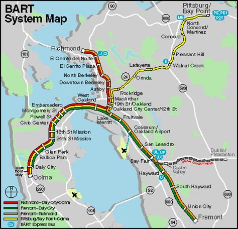 Bay Area Bart Map by Show Me A Map Of Bart