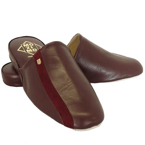 leather slippers relax mozimo ross mens leather slippers in wine colour