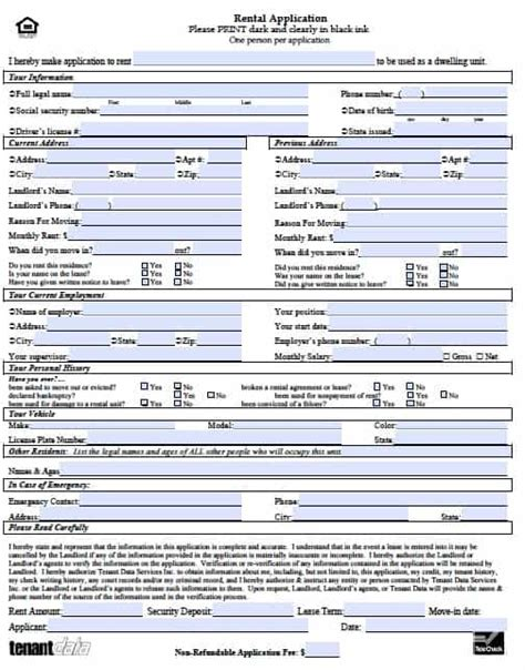 Rental Application Form Free Printable Documents Rental Application Template Word