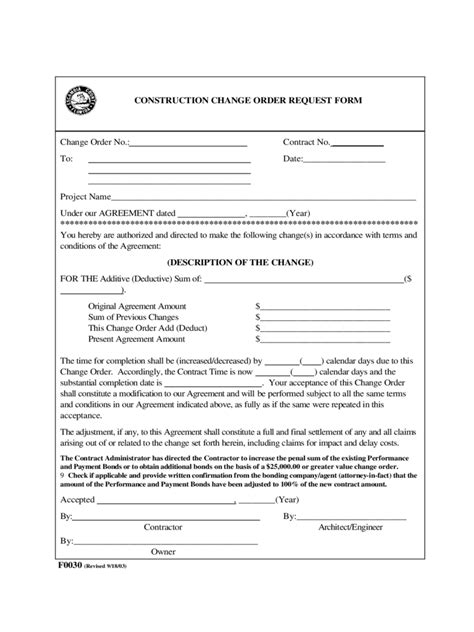 construction change order form template construction change order template 1 free templates in
