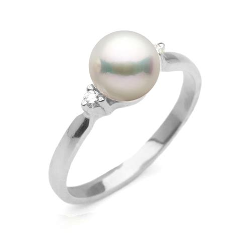 Pearl Ring by White Akoya Pearl And 2 Sweetheart Ring 7 0 7 5mm