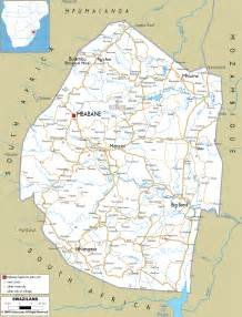 detailed clear large road map of swaziland ezilon maps