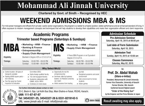 Mba Admission Requirements In Karachi by Mohammad Ali Jinnah Maju Karachi Mba Admission 2017