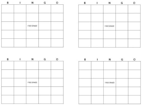 Blank Bingo Card Template 4x4 by 29 Images Of Create Bingo Card Template Infovia