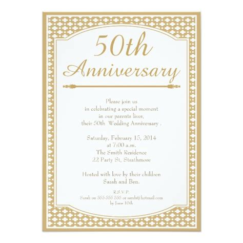 invitation cards for wedding anniversary 50th wedding anniversary invitation zazzle