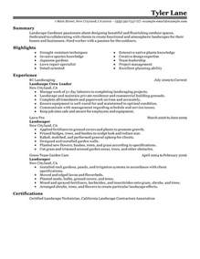 Landscaping Resume Exles by Landscaping Resume Exles Agriculture Environment Resume Sles Livecareer