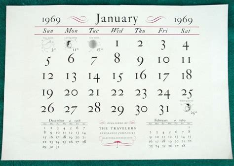 Stores That Sell Calendars Vintage Large Travelers Insurance Co January 1969