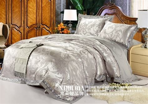 8 King Comforter Set Silver 60s Classic Luxurious European Style Silver Grey 50 Noble King Wedding Bedding Set Bed Sheet