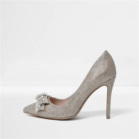 Bow Shoes gold wide fit embellished bow court shoes shoes shoes