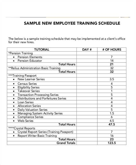 Employee Training Schedule Template 14 Free Word Pdf Format Download Free Premium Templates Schedule Template For New Hire