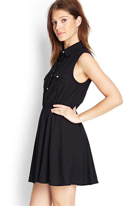 Hm Basic Dress Fit L Besar forever 21 fit flare shirt dress in black lyst