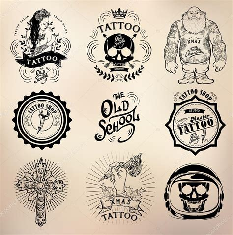 tattoo artist logo tattoo old school studio skull stock vector