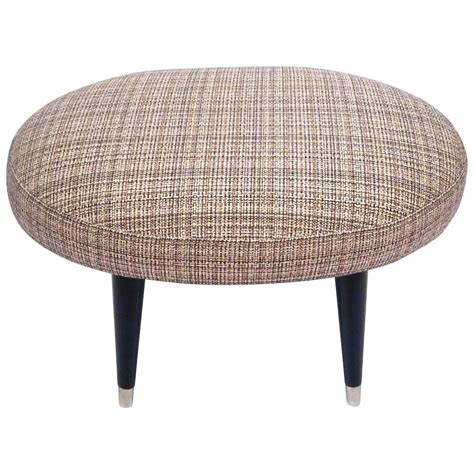 Foot Stool Ottoman by 1950s Mid Century Modern Oval Tweed Foot Stool