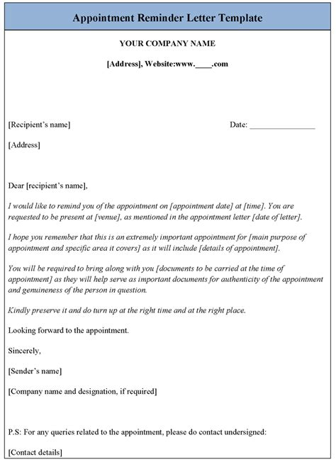 appointment reminder letter template sample templates