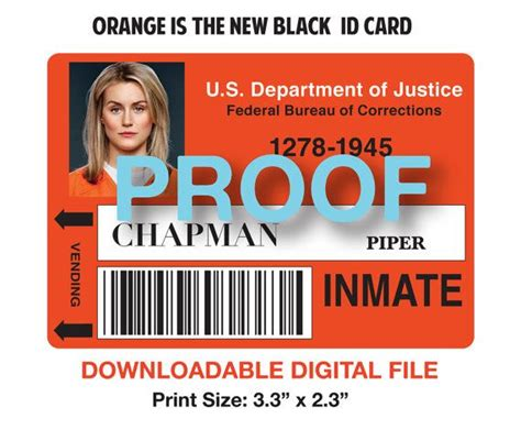 black mesa id card template piper chapman instant inmate id badge by