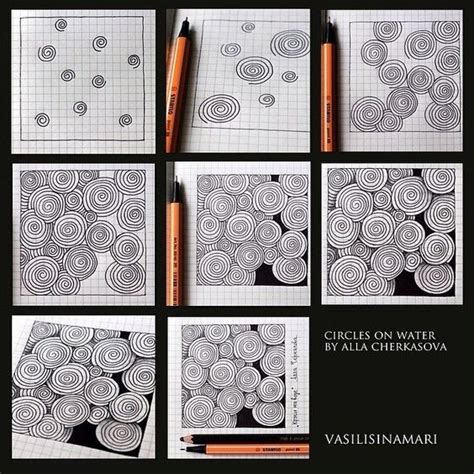 zentangle pattern water circles step by step and water on pinterest