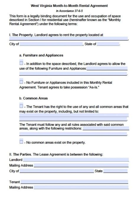 printable rental agreement month to month free west virginia month to month lease agreement pdf