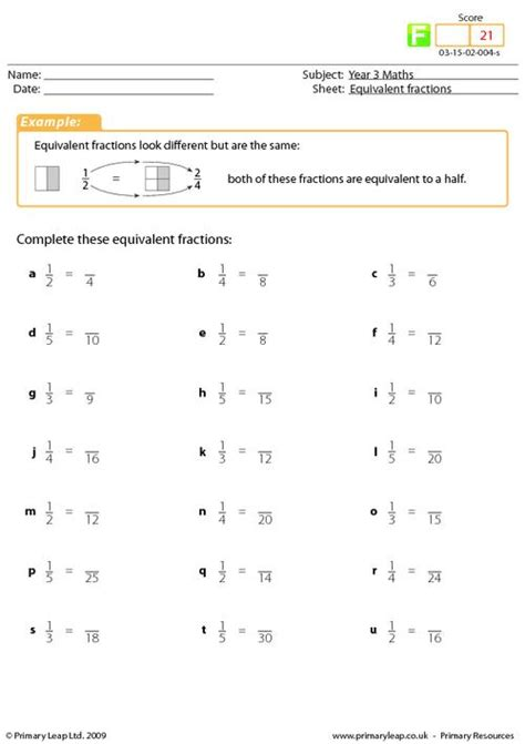 Equivalent Fractions Worksheet by Equivalent Fractions Primaryleap Co Uk