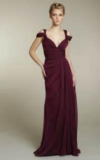 chiffon bridesmaids dress in rich maroon color