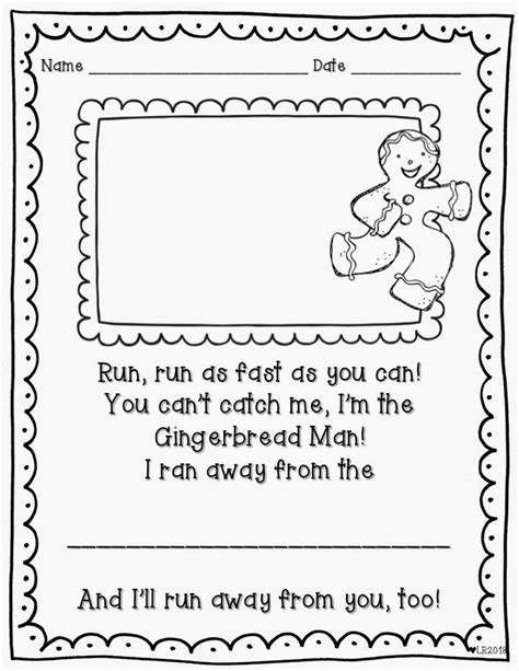 gingerbread man easy reader printable teaching with love and laughter gingerbread writing freebie