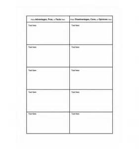 Pro Con List Template by Pros And Cons Chart Template Word Templates