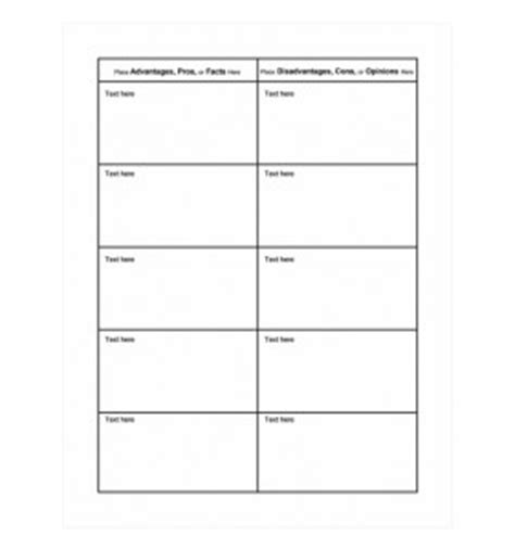 Con Essay Checklist by Pros And Cons Chart Template Word Templates