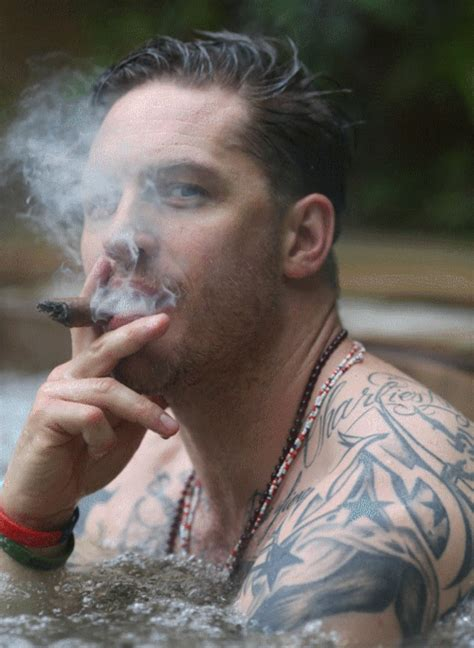 tattoo hot tub tom hardy gif cigar shirtless muscles tattoos hot tub a