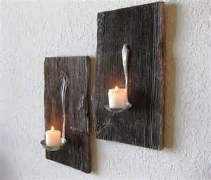 Wood Candle Sconce Reclaimed Barn Wood Salvaged Antique Metal Ladle Candle