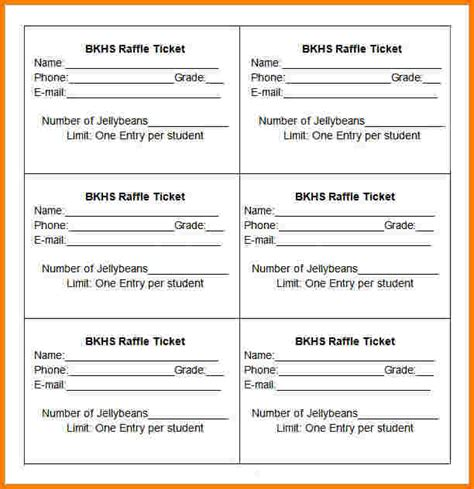 ticket receipt template sle raffle sheet other size s simple blank ticket