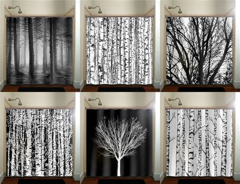 forest bathroom decor trunk forest white birch trees shower curtain bathroom decor