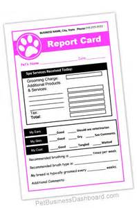 Grooming Record Card Template by Grooming Receipt Report Cards In 1 Printable And